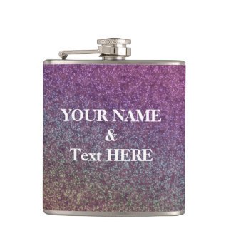 Personalized Purple Glitter Custom Your Own Photo Hip Flask