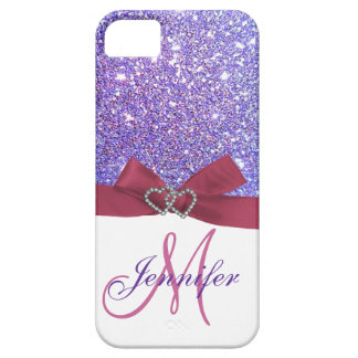 Personalized Purple Glitter, Pink Printed Bow iPhone 5 Covers