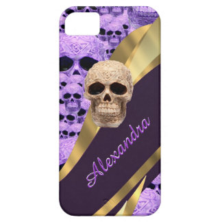Personalized purple gothic skull iPhone 5 cover
