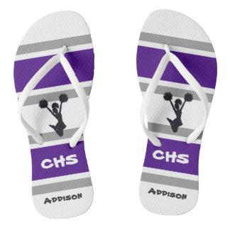 Personalized Purple & Gray Cheerleader Flip Flops Thongs