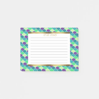 Personalized Purple Green and Gold Mermaid Scales Post-it Notes