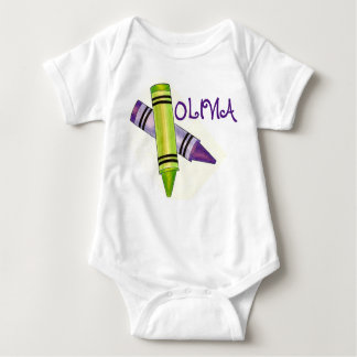 Personalized Purple Green Crayon Art Crayons Baby Bodysuit