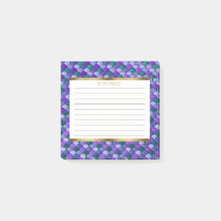 Personalized Purple Green Gold Mermaid Scales 3x3 Post-it Notes
