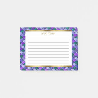 Personalized Purple Green Gold Mermaid Scales Post-it Notes