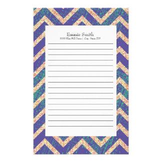Personalized Purple Grunge Chevron Pattern Stationery