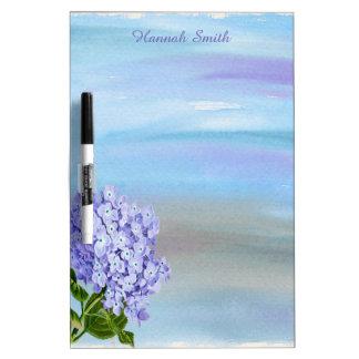 Personalized Purple Hydrangea Watercolor Dry Erase Board