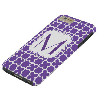 Personalized Purple Monogram  Quatrefoil Tough iPhone 6 Plus Case