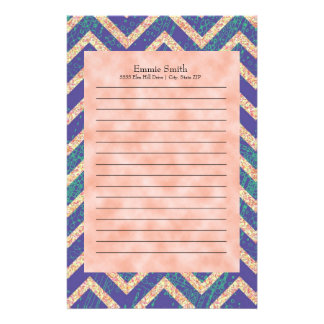 Personalized Purple Orange Grunge Chevron Pattern Stationery