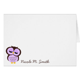 Personalized Purple Owl Notecards Card