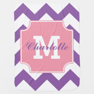 Personalized Purple Pink Chevron Pattern Baby Blanket
