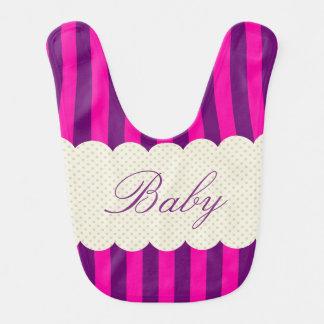 Personalized Purple Pink Stripes Polka Dots Design Bib