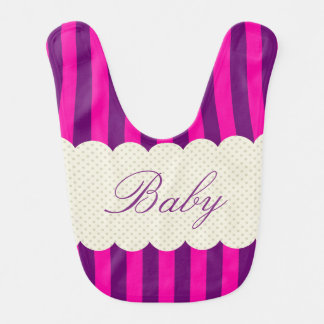 Personalized Purple Pink Stripes Polka Dots Design Bibs