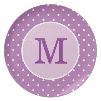 Personalized Purple Polka Dot Plate