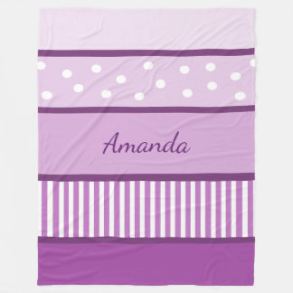 Personalized Purple Polka Dots and Stripes Blanket