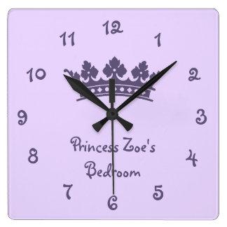 Personalized Purple Princess Girl's Bedroom Wallclock