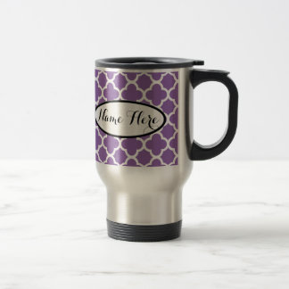 Personalized Purple Quatrefoil Name Travel Mug