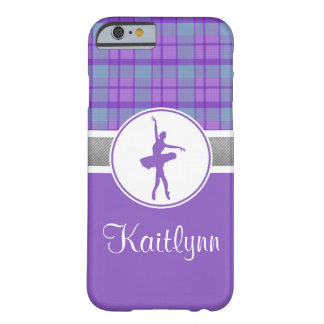 Personalized Purple Sweetheart Plaid Dancer Barely There iPhone 6 Case