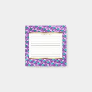 Personalized Purple Teal Gold Mermaid Scales 3x3 Post-it Notes