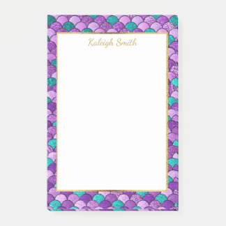 Personalized Purple Teal Gold Mermaid Scales Post-it Notes