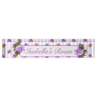 Personalized Purple Vintage Rose Baby Nursery Name Nameplate