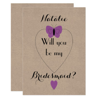 Personalized purple Will you be my Bridesmaid Card