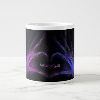 Personalized Purple Xray Fingers Form a Heart Large Coffee Mug