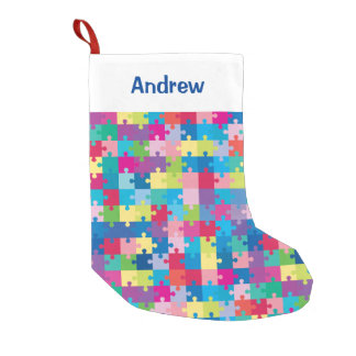 Personalized Puzzle Pattern Autism Awareness Small Christmas Stocking