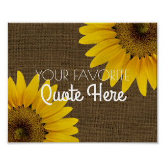 Personalized Quote | Rustic Burlap Sunflowers Sign