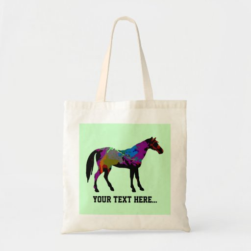 Personalized Race Horse Design On Mint Green Canvas Bags