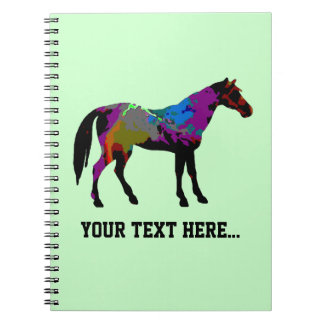 Personalized Race Horse Design On Mint Green Spiral Notebook