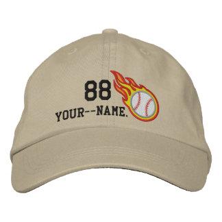 Personalized Racing Flames Baseball Bullet Badge Baseball Cap