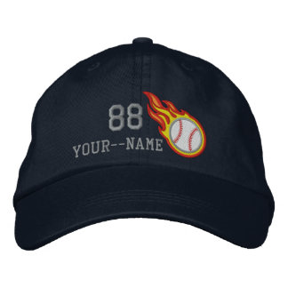 Personalized Racing Flames Baseball Bullet Badge Embroidered Hats