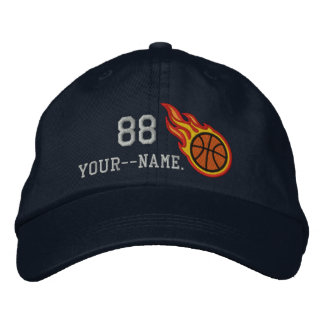 Personalized Racing Flames Basketball Bullet Badge Embroidered Hat