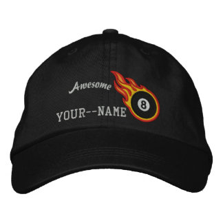 Personalized Racing Flames Eight ball Bullet Badge Embroidered Hat