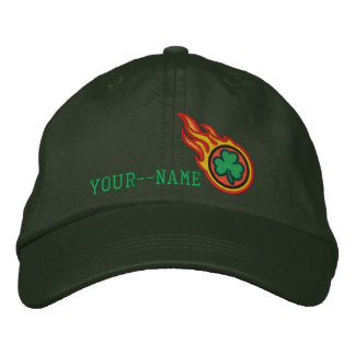 Personalized Racing Flames Irish Bullet Badge Embroidered Baseball Cap
