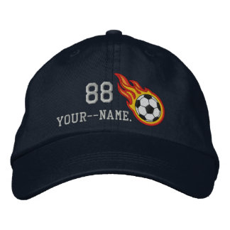 Personalized Racing Flames Soccer Bullet Badge Embroidered Hats