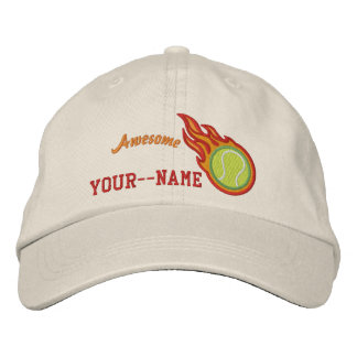 Personalized Racing Flames Tennis Bullet Badge Embroidered Hat
