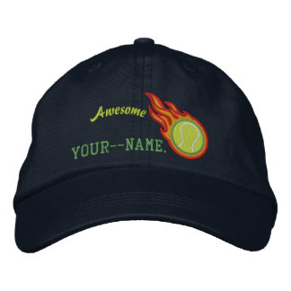 Personalized Racing Flames Tennis Bullet Badge Embroidered Baseball Caps