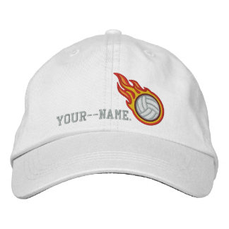 Personalized Racing Flames Volleyball Bullet Badge Embroidered Baseball Caps
