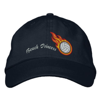 Personalized Racing Flames Volleyball Bullet Badge Embroidered Hats