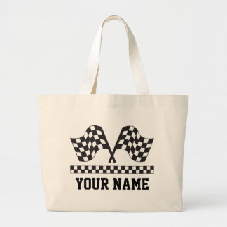 Personalized Racing Rally Flags Gift Large Tote Bag