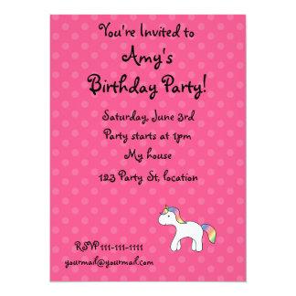 "Personalized Rainbow baby unicorn pink polka dots 5.5"" X 7.5"" Invitation Card"
