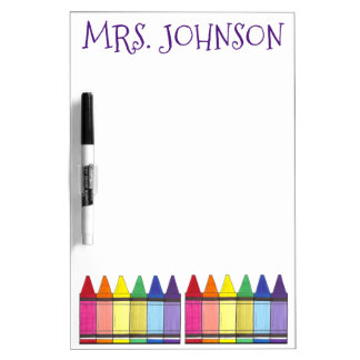 Personalized Rainbow Crayons Art Teacher Gift Dry Erase Board
