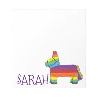 Personalized Rainbow Donkey Piñata Birthday Party Notepad