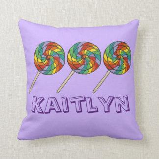 Personalized Rainbow Lollipop Lollies Candy Purple Cushion
