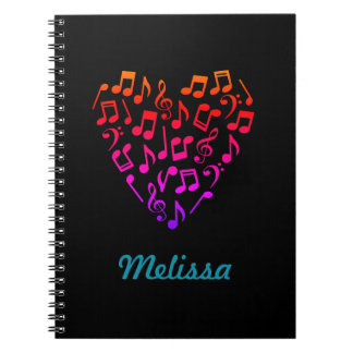 Personalized Rainbow Music Heart Notebook