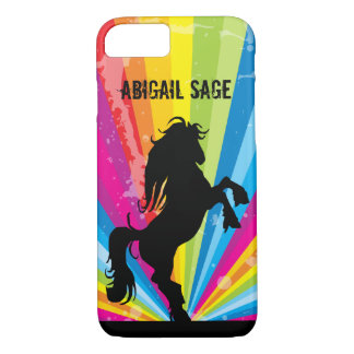 Personalized Rainbow Techno Silhouette Horse iPhone 7 Case