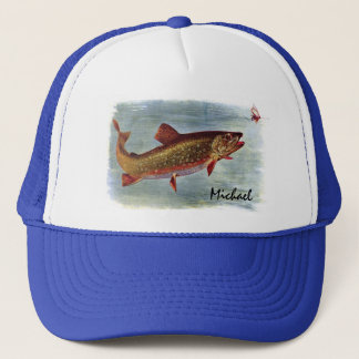 Personalized Rainbow Trout Chasing a Fly Lure Trucker Hat