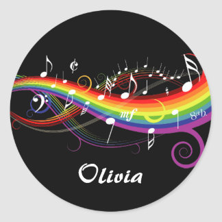 Personalized Rainbow White Music Notes on Black Round Sticker