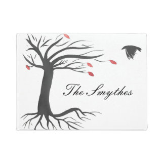 Personalized Raven and Autumn Tree Doormat